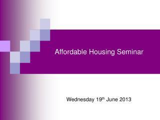 Affordable Housing Seminar