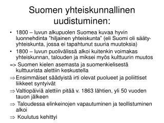 Suomen yhteiskunnallinen uudistuminen: