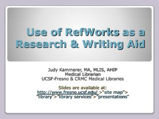Use of  RefWorks  as a Research & Writing Aid