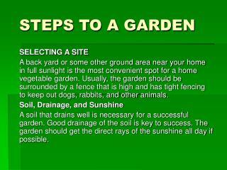 STEPS TO A GARDEN