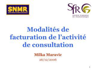 Modalit s de facturation de l activit  de consultation