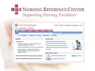 Nursing Reference Center  Components
