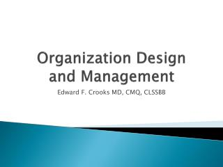 Organization Design  and Management