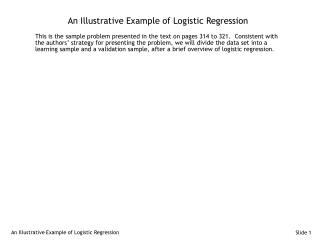 An Illustrative Example of Logistic Regression