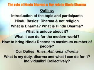 The role of Hindu Dharma & Our role in Hindu Dharma