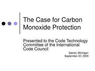 The Case for Carbon Monoxide Protection
