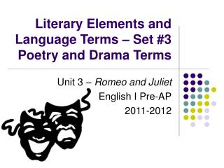 Literary Elements and Language Terms � Set #3 Poetry and Drama Terms