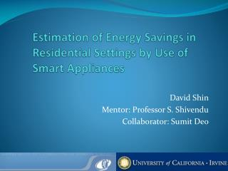 Estimation of Energy Savings in Residential Settings by Use of Smart Appliances