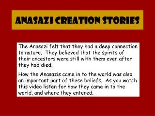 Anasazi Creation Stories