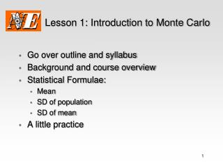 Lesson 1: Introduction to Monte Carlo