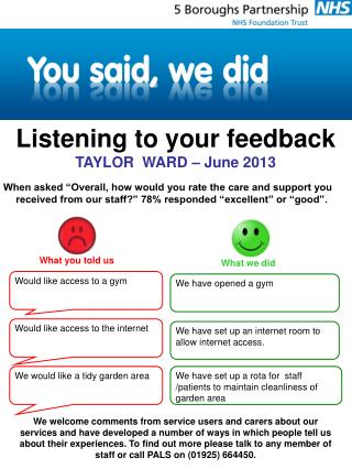 Listening to your feedback TAYLOR  WARD – June 2013