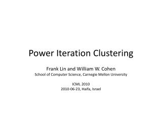 Power Iteration Clustering