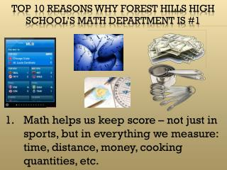 Top 10 reasons why Forest Hills High School's Math Department is #1
