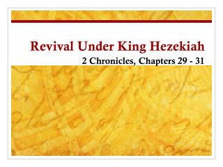 Revival Under King Hezekiah