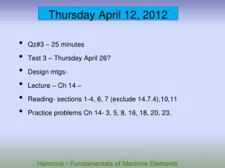 Thursday April 12, 2012