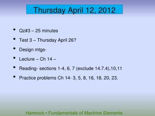 Thursday April 12, 2012