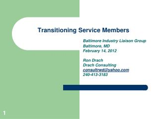 Transitioning Service Members