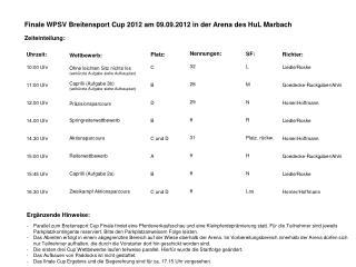 Finale WPSV Breitensport Cup 2012 am 09.09.2012 in der Arena des HuL Marbach