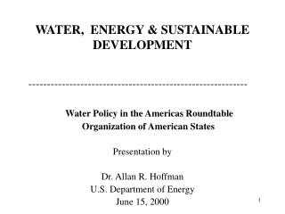 WATER,  ENERGY  SUSTAINABLE DEVELOPMENT