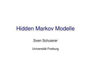 Hidden Markov Modelle