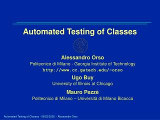 Automated Testing of Classes