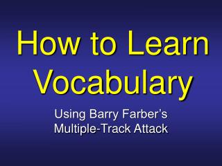 How to Learn Vocabulary