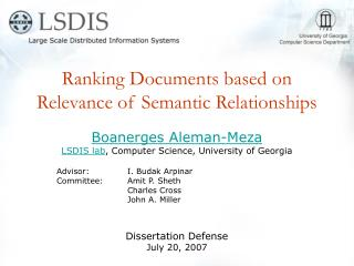 Ranking Documents based on Relevance of Semantic Relationships