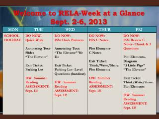 Welcome to RELA-Week at a Glance  Sept.  2-6 , 2013