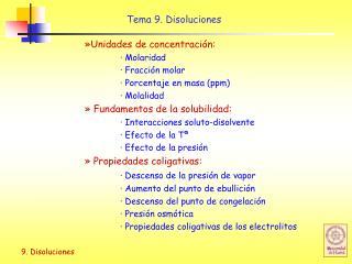 Tema 9. Disoluciones