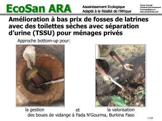 Amélioration à bas prix de fosses de latrines  avec des toilettes sèches avec séparation