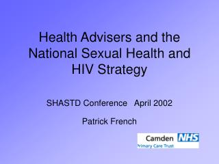Health Advisers and the National Sexual Health and HIV Strategy