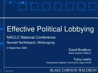 David Bradbury Blake Dawson Waldron Tracy Leahy Hawkesbury Nepean Community Legal Centre