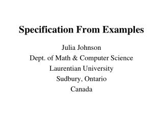 Specification From Examples