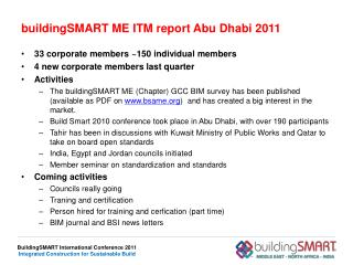 buildingSMART  ME ITM report Abu Dhabi 2011