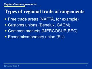 Types of regional trade arrangements