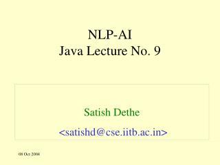 NLP-AI Java Lecture No. 9