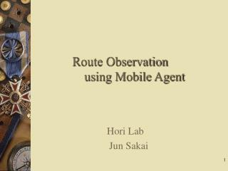 Route Observation               using Mobile Agent