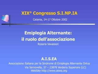 XIX° Congresso S.I.NP.IA Catania, 14-17 Ottobre 2002
