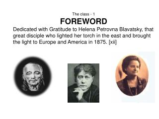 The class - 1 FOREWORD