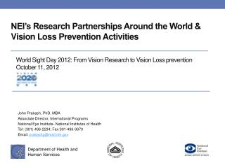 NEI's Research Partnerships Around the World & Vision Loss Prevention Activities