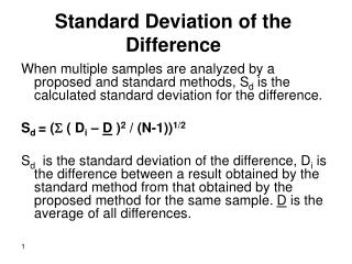 Standard Deviation of the Difference