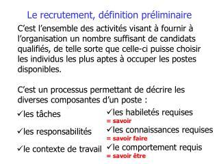 Le recrutement, définition préliminaire