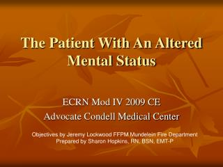The Patient With An Altered Mental Status