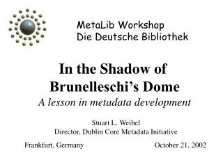 MetaLib Workshop Die Deutsche Bibliothek