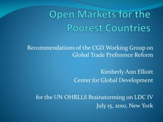 Open Markets for the Poorest Countries