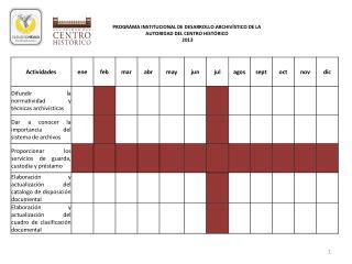 PROGRAMA INSTITUCIONAL DE DESARROLLO ARCHIVÍSTICO DE LA AUTORIDAD DEL CENTRO HISTÓRICO  2013