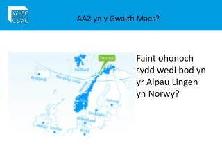 AA2 yn y Gwaith Maes?
