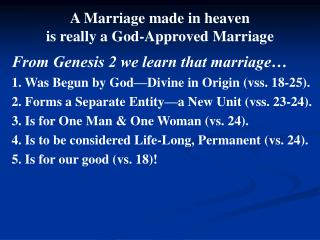 A Marriage made in heaven is really a God-Approved Marriage