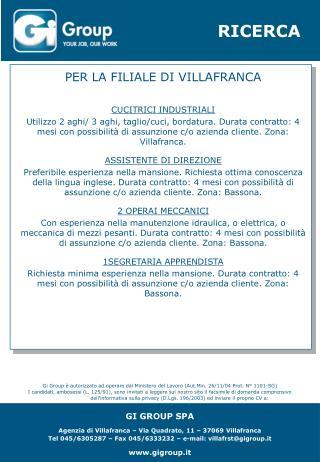 PER LA FILIALE DI VILLAFRANCA CUCITRICI INDUSTRIALI