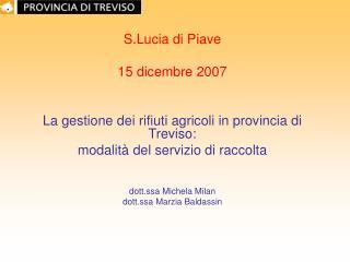 S.Lucia di Piave  15 dicembre 2007 La gestione dei rifiuti agricoli in provincia di Treviso: